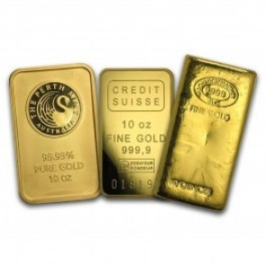 10 oz Gold Bar .999 - Brand Name With Assay Card