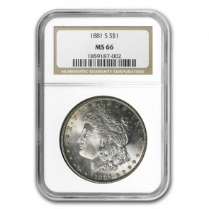 A $1 Morgan Silver Dollar MS-66