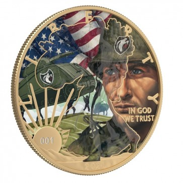 PRESALE: 2021 Ghost Army World War 2 Silver American Eagle Colorized with Transparent Varnish Effect 1 oz Silver Coin $1 US Mint .999 Fine History Coin® (w/ Box)