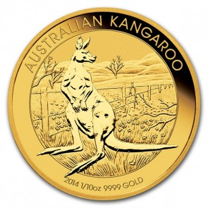 A 1/10 oz. Australian Gold Kangaroo is 16.60 mm in diameter and 1.50 mm thick.