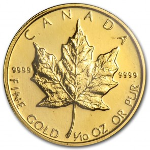 1/10 oz Canadian Gold Maple Leaf -5 Coin Minimum