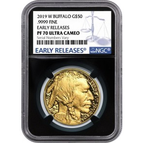 2019-W 1 oz Gold Buffalo Proof $50 Coin NGC PF70 UC Early Releases Label