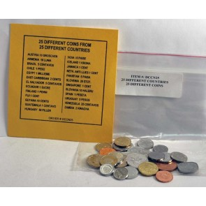 25 Different Coins from 25 Countries (U)