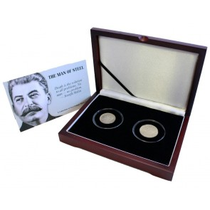 Man of Steel: Box of 2 Coins Featuring Portrait of Joseph Stalin A Unique Collection of 2 Silver Coins