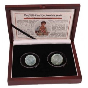 Child King Who Saved the Wold: Yugoslavia's Peter II Box of 2 Silver Coins
